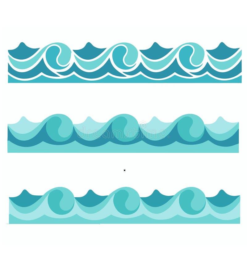 蓝色波浪海海洋传染媒介例证摘要样式背景五颜六色的墙纸水集合 皇族释放例证
