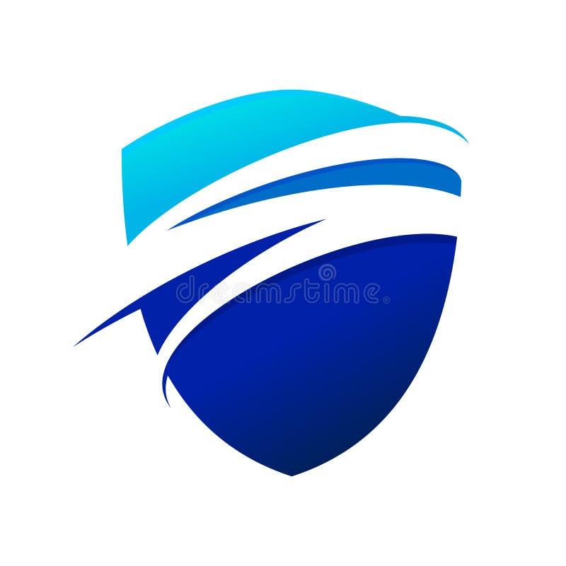 蓝色波浪Swoosh现代盾标志商标设计 库存例证