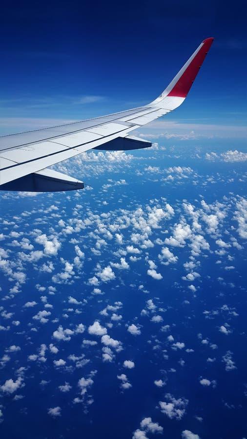 蓝色海和蓝天飞机视图  免版税库存照片