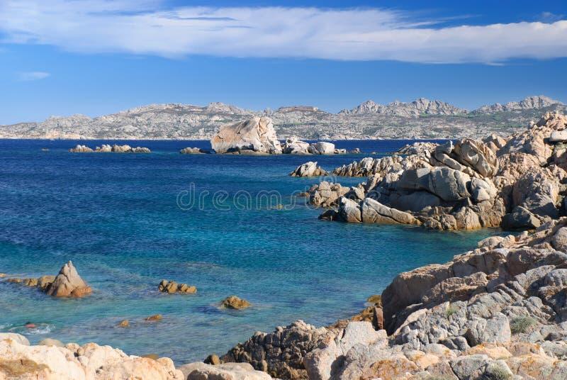 蓝色海岛la maddalena海洋 免版税图库摄影