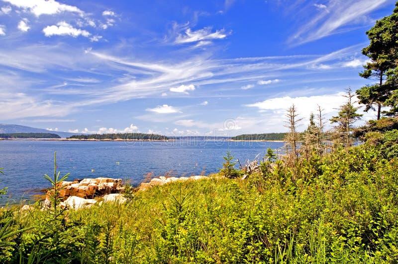 蓝色海岸线缅因 图库摄影