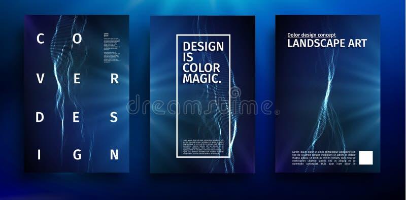 蓝色海报设计 音乐波浪蓝色传染媒介横幅模板 背景五颜六色未来派 现代彩色插图 向量例证