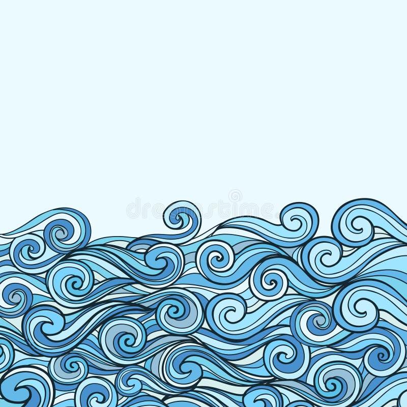 蓝色海波浪背景 向量例证