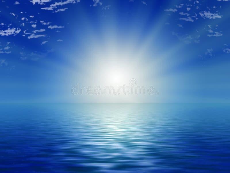 蓝色海洋天空星期日 皇族释放例证