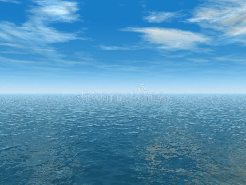 蓝色海洋天空 库存例证