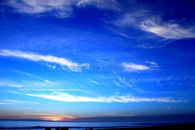 蓝色海洋日落 库存照片