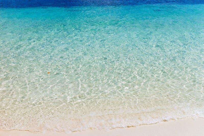 蓝色海洋波浪沙滩的 ?? 免版税库存图片
