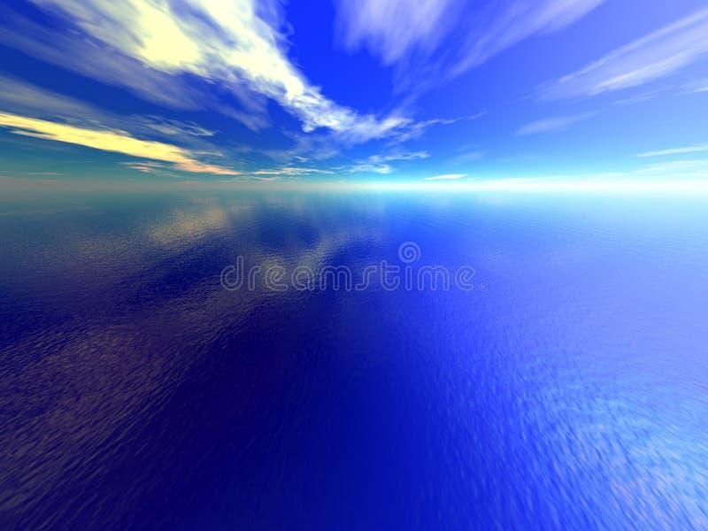 蓝色海洋 向量例证