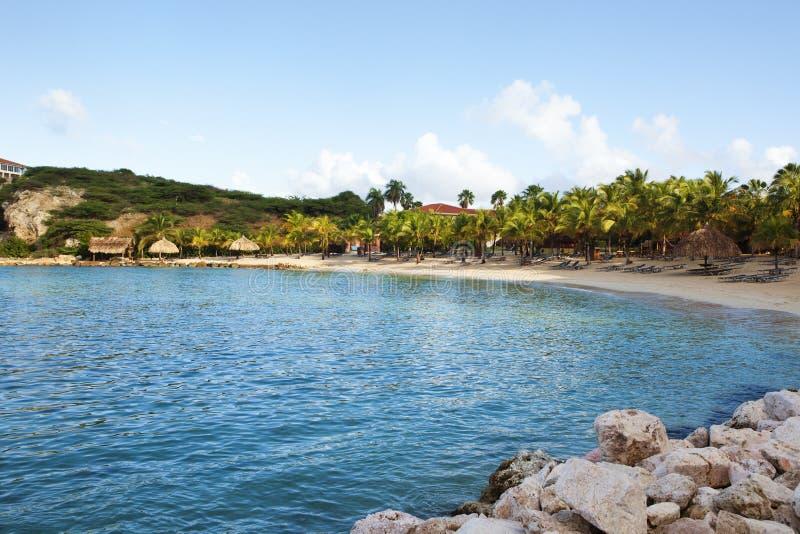 蓝色海湾海滩,库拉索岛 免版税库存照片