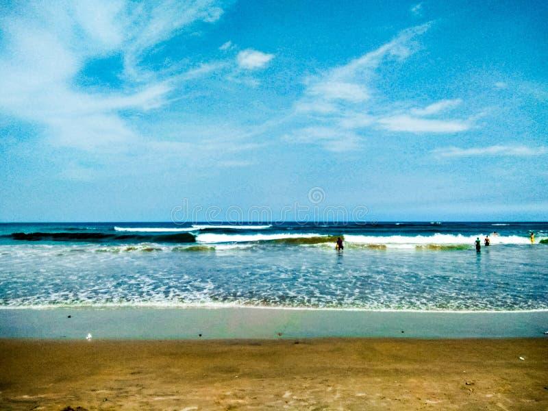 蓝色海滩 免版税库存照片