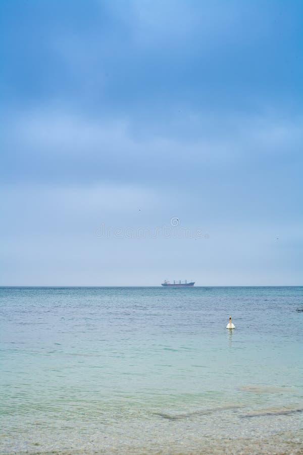 蓝色海洋垂直 免版税库存照片