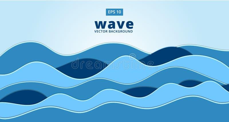 蓝色海洋海波向量背景 向量例证