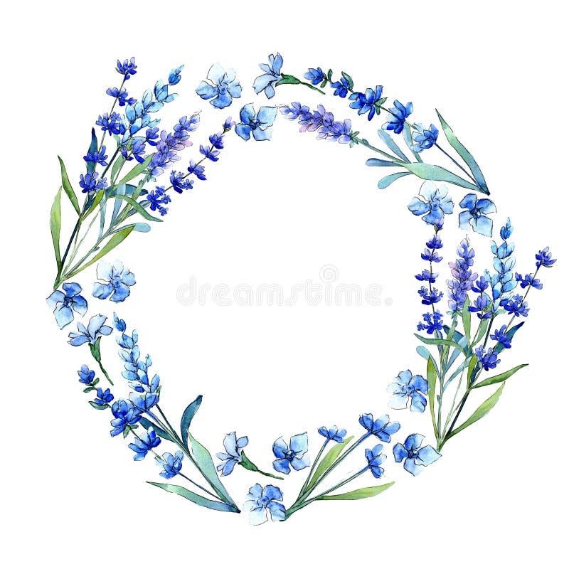蓝色淡紫色 花卉植物的花 在水彩样式的狂放的春天叶子野花框架 皇族释放例证