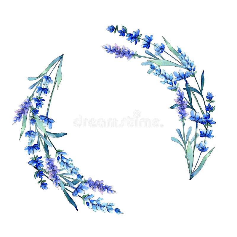 蓝色淡紫色 花卉植物的花 在水彩样式的狂放的春天叶子野花框架 向量例证
