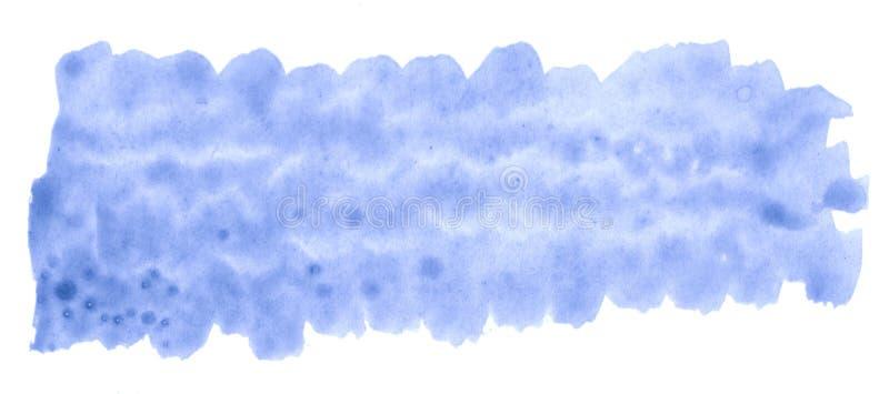 蓝色淡色在白色墙纸的,标签刷子做的背景抽象纹理的水彩手拉的被隔绝的洗涤污点 向量例证