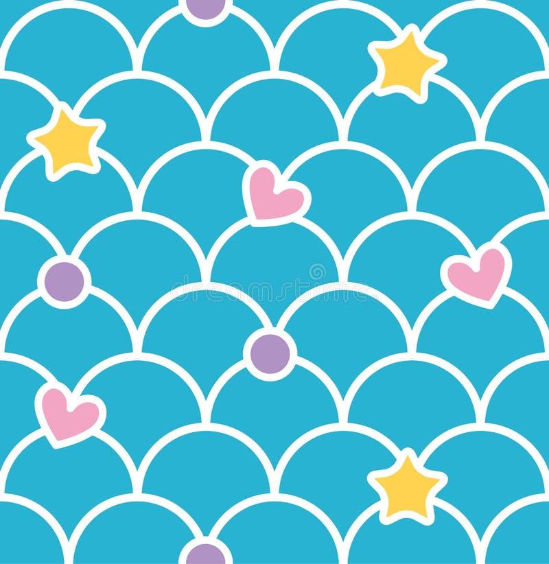 蓝色淡色逗人喜爱的与心脏和星的标度无缝的样式 库存例证