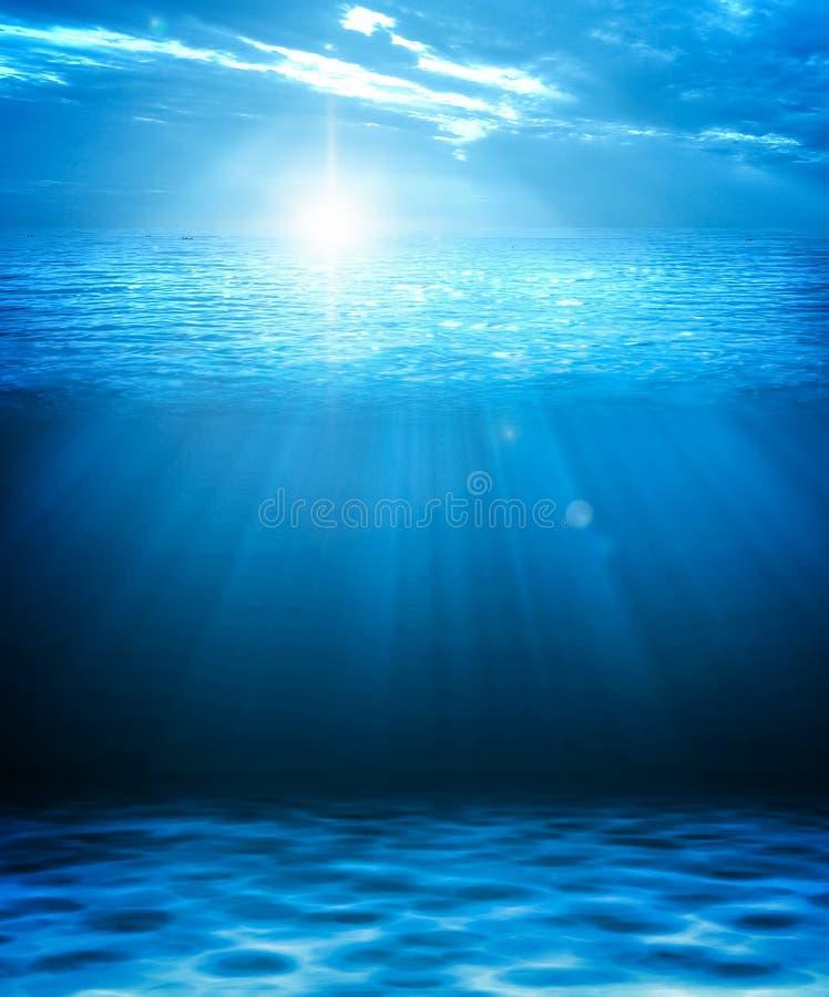 蓝色深水和海抽象自然本底 3D illustra 向量例证