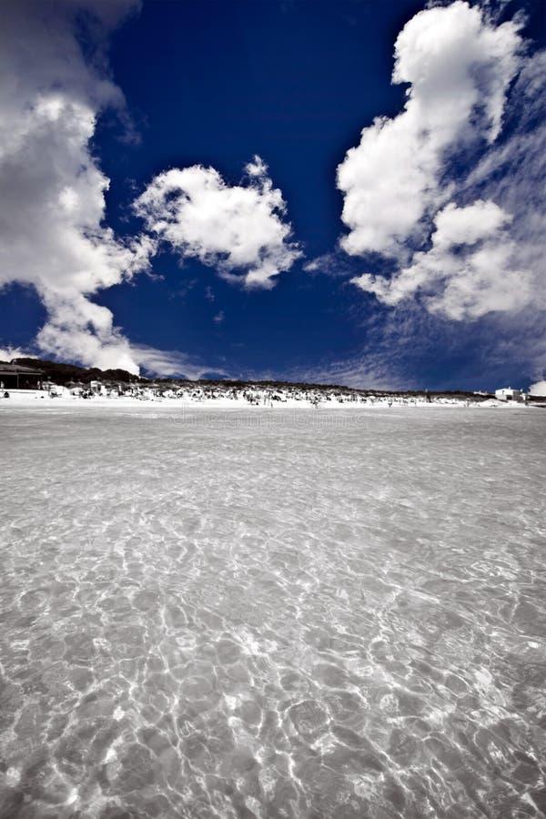 蓝色清楚的海洋天空水 免版税图库摄影