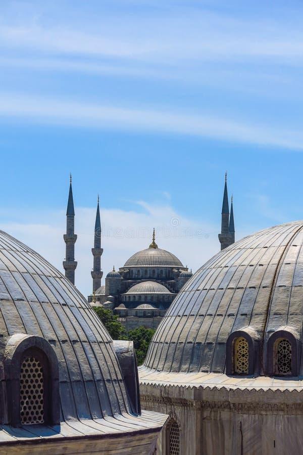 蓝色清真寺和圣徒苏菲大教堂,伊斯坦布尔,土耳其 免版税库存照片