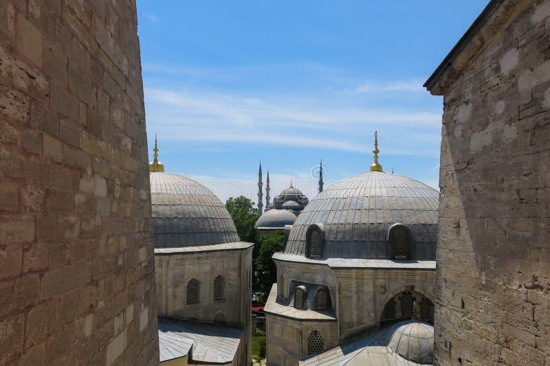 蓝色清真寺和圣徒苏菲大教堂,伊斯坦布尔,土耳其 免版税库存图片