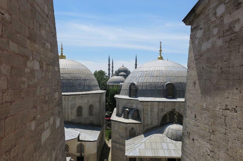 蓝色清真寺和圣徒苏菲大教堂,伊斯坦布尔,土耳其 图库摄影