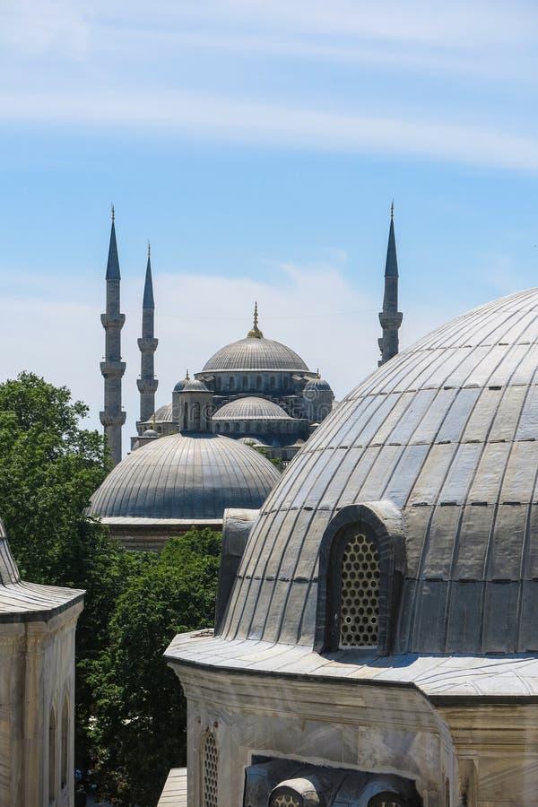 蓝色清真寺和圣徒苏菲大教堂,伊斯坦布尔,土耳其 免版税图库摄影
