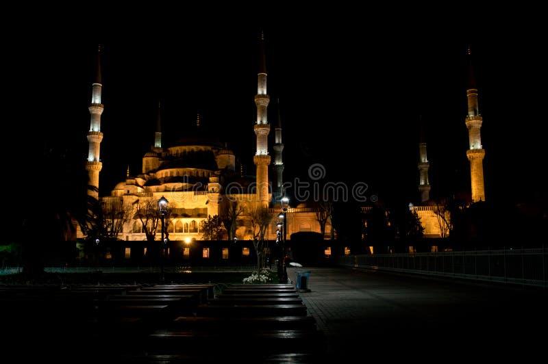 蓝色清真寺晚上 免版税库存照片