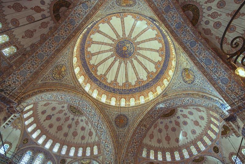 蓝色清真寺的室内装璜的元素 免版税库存照片