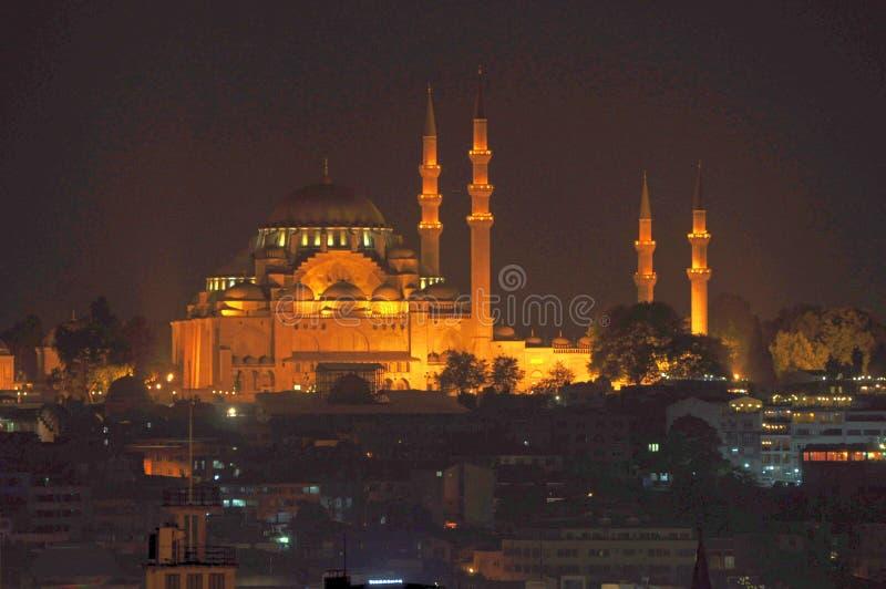 蓝色清真寺苏丹阿哈迈德清真寺在晚上,伊斯坦布尔,土耳其 库存图片