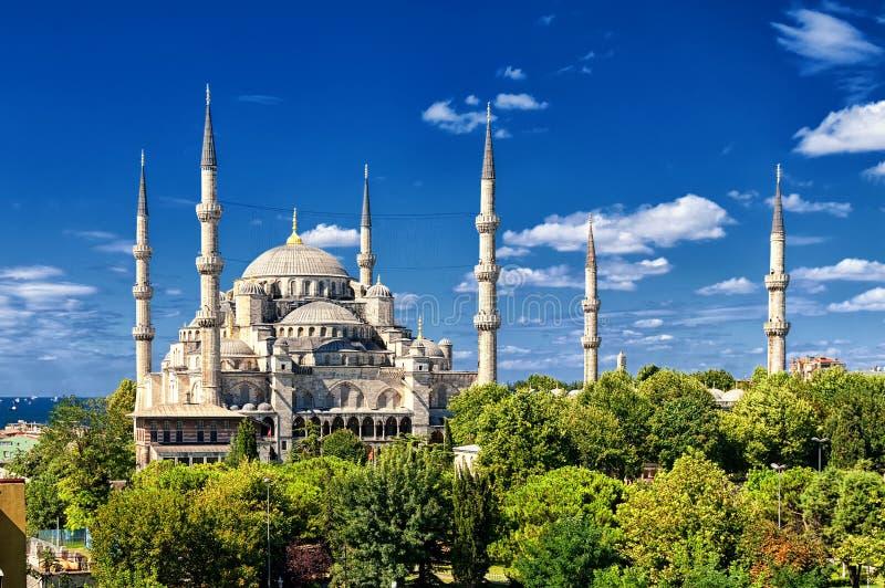 蓝色清真寺, Sultanahmet,伊斯坦布尔,土耳其 图库摄影