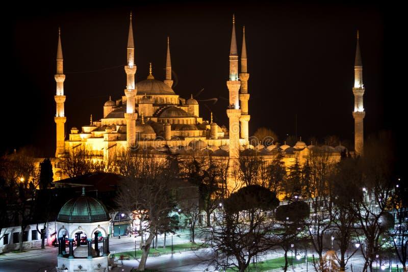 蓝色清真寺, Sultanahmet Camii,伊斯坦布尔,土耳其,在晚上点燃 免版税库存照片
