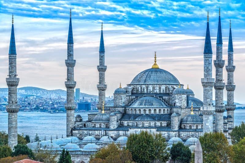 蓝色清真寺, Sultanahmet Camii,伊斯坦布尔,土耳其 图库摄影