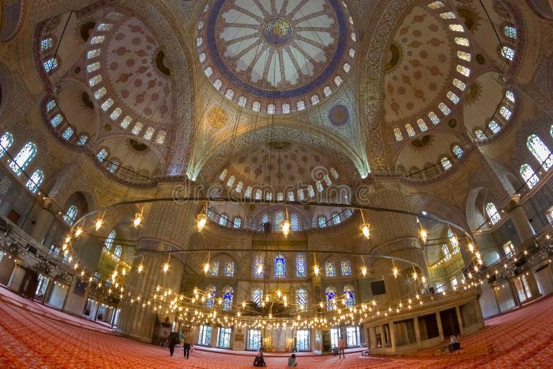 蓝色清真寺Sultanahmet清真寺的室内装璜 库存图片