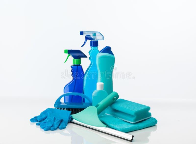 蓝色清洁工具 免版税库存照片