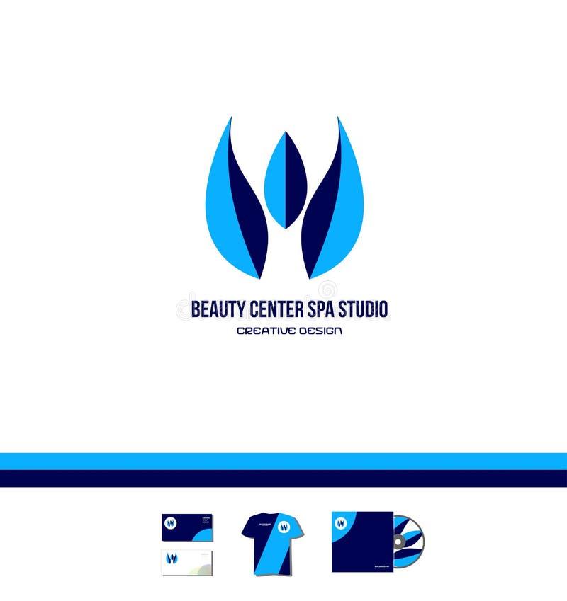蓝色温泉秀丽中心演播室商标 库存例证