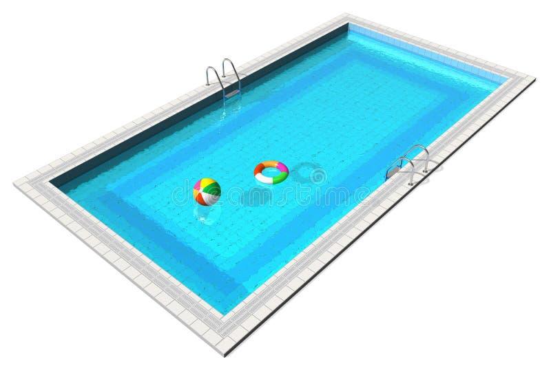 蓝色游泳池 皇族释放例证