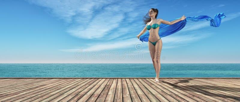 蓝色游泳衣的女孩 向量例证