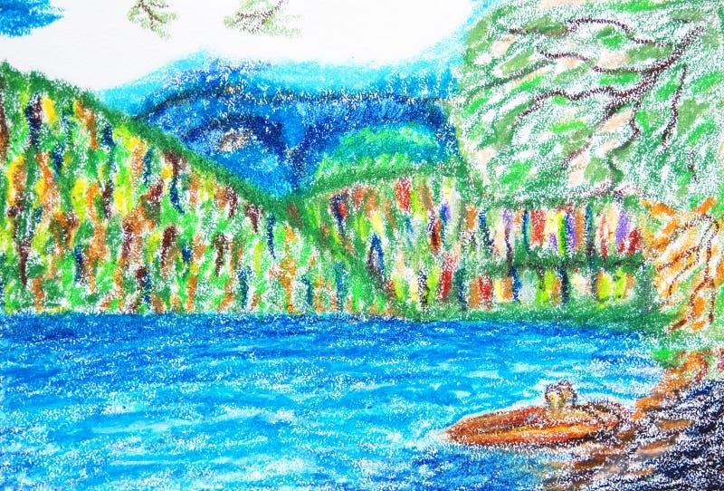 蓝色湖。抽象柔和的淡色彩五颜六色的图画。 库存例证