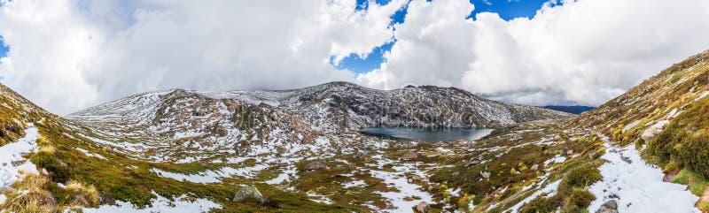 蓝色湖和积雪的山美好的全景  Kosc 免版税库存图片