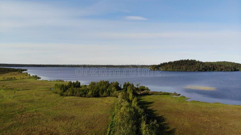 蓝色湖和绿色森林鸟瞰图在一个晴朗的夏日在Kavgolovo,托克索沃 水库岸与森林unde的 免版税库存图片