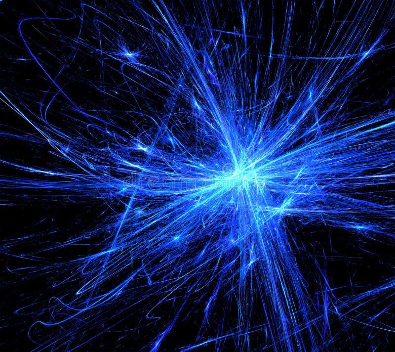 蓝色火花爆炸 向量例证