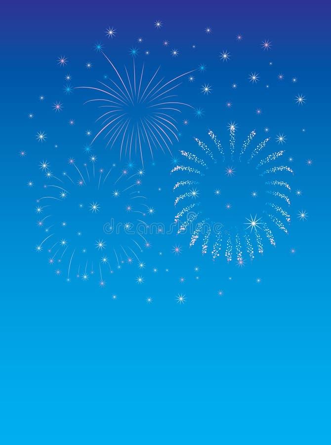 蓝色烟花新年度 库存例证