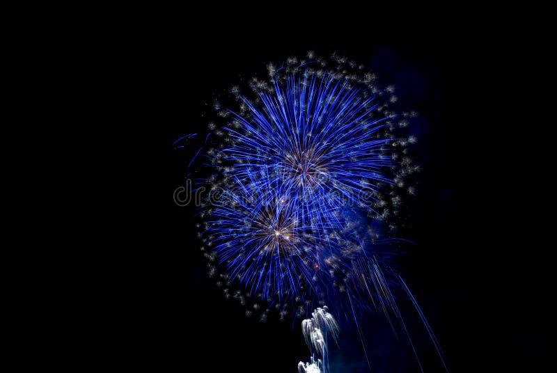 蓝色烟花 免版税图库摄影