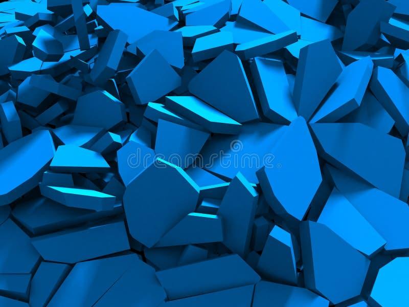 蓝色爆破破裂的表面混乱背景 向量例证