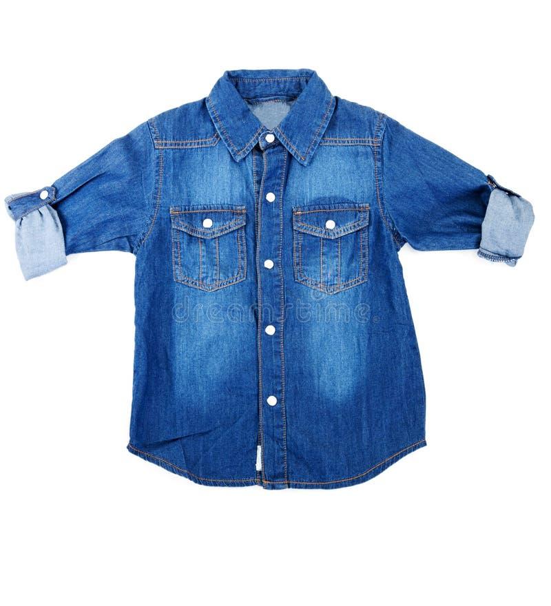 蓝色牛仔布衬衣 库存图片