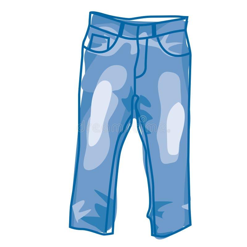 蓝色牛仔裤 库存例证