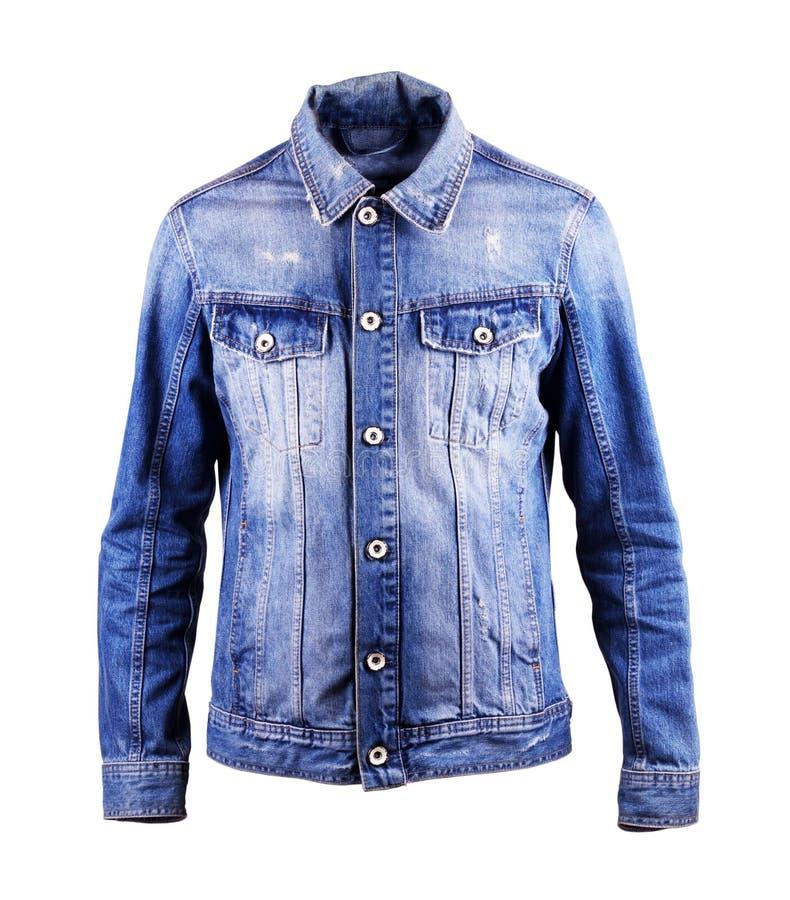 蓝色牛仔布夹克,在白色背景的孤立 库存图片