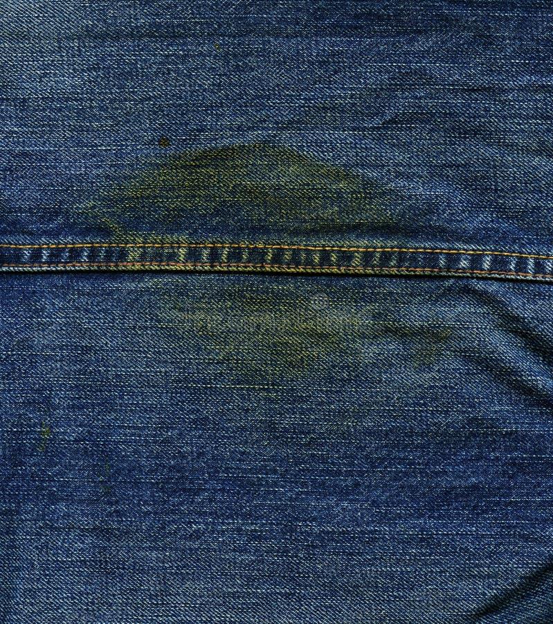 牛仔布织品纹理-与缝&污点 免版税图库摄影