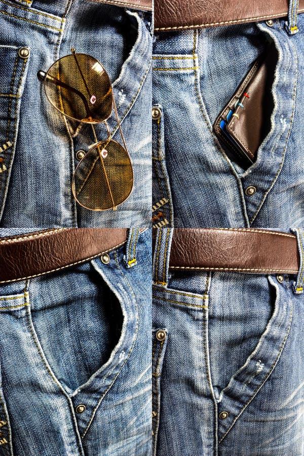 蓝色牛仔裤裤子集合 库存照片