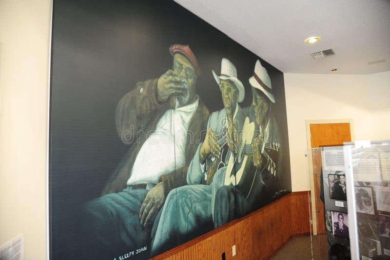 蓝色特写镜头墙壁上在西方田纳西三角洲遗产中心和博物馆 免版税库存照片